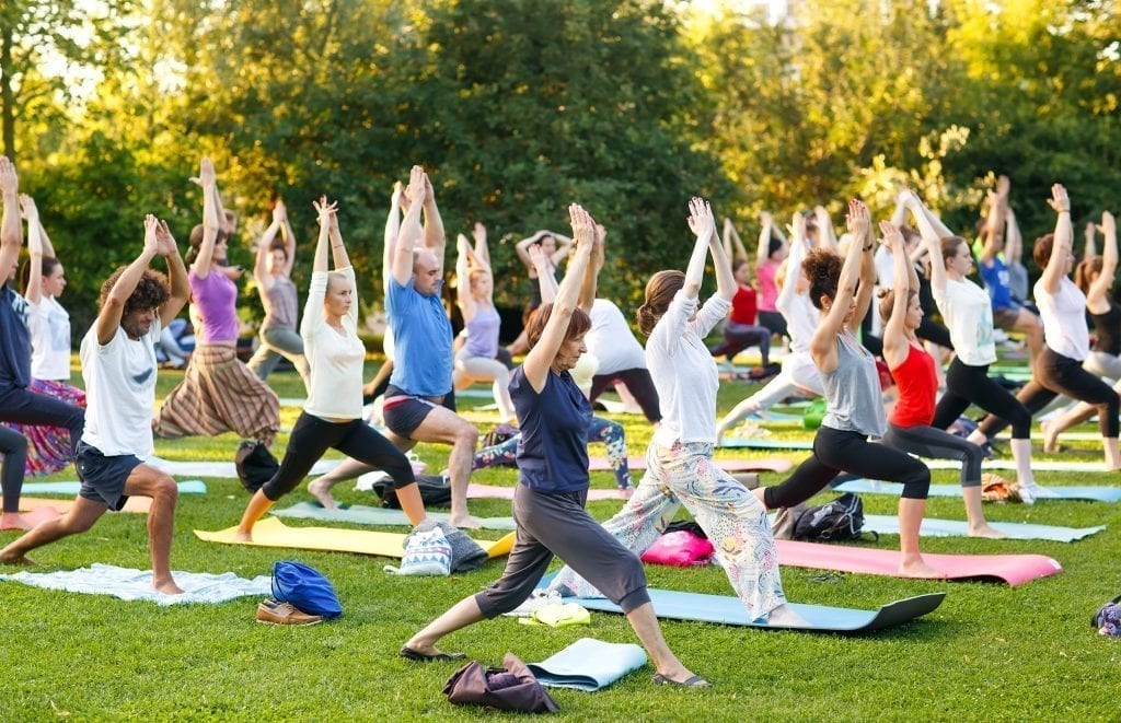 a shot of people having yoga session in the park